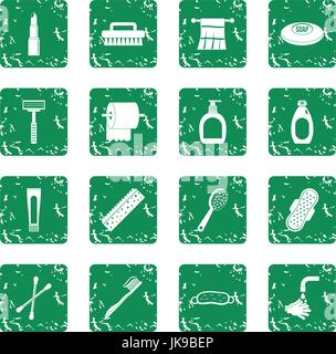 Hygiene tools icons set grunge - Stock Photo