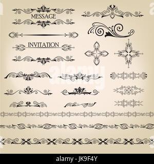 Calligraphic flourish design elements. Page decoration doodle vignette set in retro style. Elegant vintage borders - Stock Photo