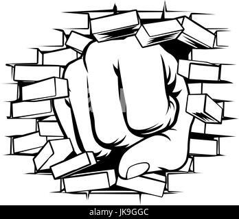 Fist Punching Through Brick Wall - Stock Photo