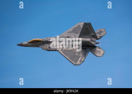 United States Air Force Lockheed Martin F-22 Raptor displaying at the Royal International Air Tattoo, RAF Fairford, - Stock Photo