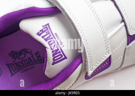 Lonsdale London detail on trainers with logo inside - Stock Photo