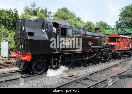 London Midland and Scottish Class 2MT 2-6-2 Tank Locomotive No 41312  at Ropley on the Mid Hants railway during - Stock Photo