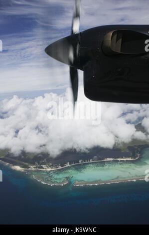 Cayman Islands, Little Cayman, Luftaufnahme,  Meer, Küste, Blick Flugzeug, Detail,  Propeller, ABC-Inseln, Kleine - Stock Photo