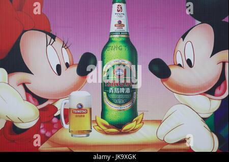 China, Qingdao, Altstadt, Tsingtao-Brauerei,  Werbeschild, Mickey Mouse, Bierflasche, Bierglas,  no property release, - Stock Photo