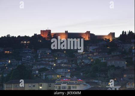 Mazedonien, Ohrid, Festung, Altstadt, Abend, - Stock Photo