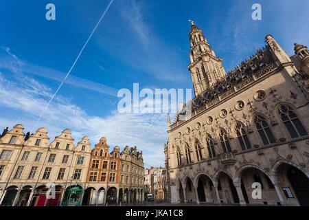 France, Nord-Pas de Calais Region, Pas de Calais Department, Arras, Place des Heros and town hall tower - Stock Photo