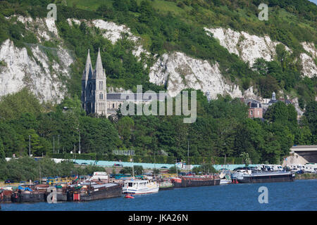France, Normandy Region, Seine-Maritime Department, Rouen, Seine River and Eglise St-Paul church - Stock Photo