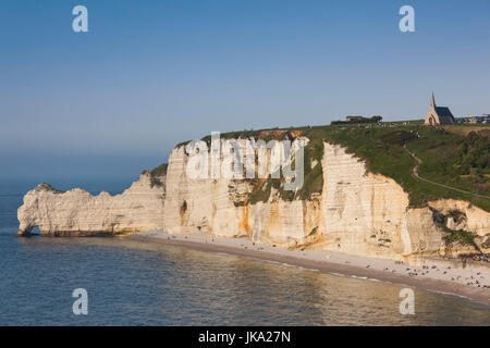 France, Normandy Region, Seine-Maritime Department, Etretat, Falaise De Amont cliffs - Stock Photo