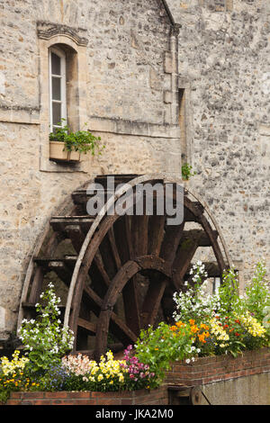 France, Normandy Region, Calvados Department, Bayeux, old water wheel - Stock Photo