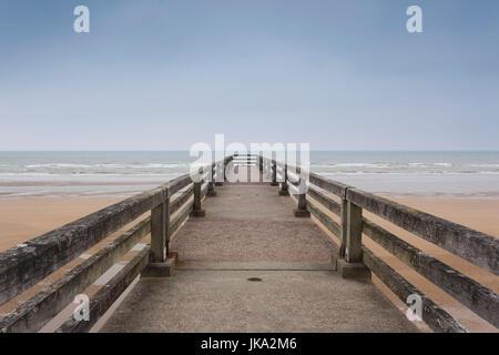 France, Normandy Region, Calvados Department, D-Day Beaches Area, St-Laurent Sur Mer, WW2-era Omaha Beach, pier - Stock Photo