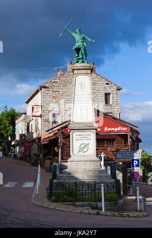 France, Corsica, Corse-du-Sud Department, La Alta Rocca Region, Zonza, town center - Stock Photo