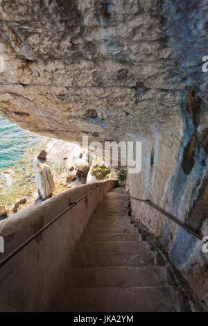 France, Corsica, Corse-du-Sud Department, Corsica South Coast Region, Bonifacio, Escalier du Roi de Aragon, King of Aragon Staircase