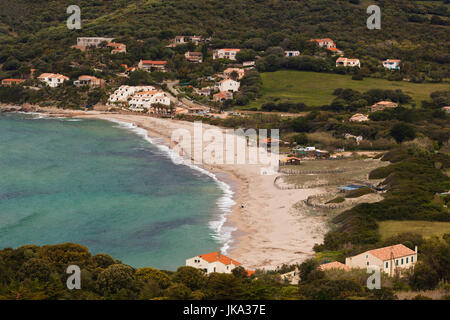 France, Corsica, Corse-du-Sud Department, Corsica West Coast Region, Cargese, elevated view of Plage Pero beach - Stock Photo
