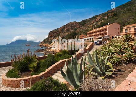 France, Corsica, Corse-du-Sud Department, Calanche Region, Porto, town view - Stock Photo