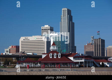 USA, Nebraska, Omaha, skyline from the Missouri River - Stock Photo