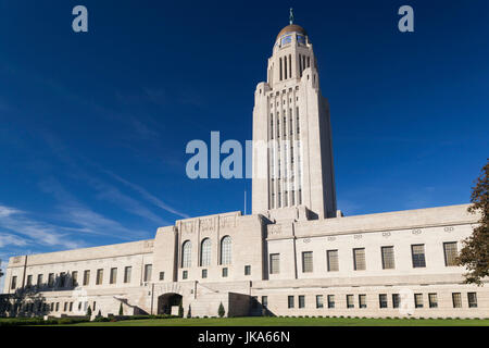 USA, Nebraska, Lincoln, Nebraska State Capitol, exterior - Stock Photo