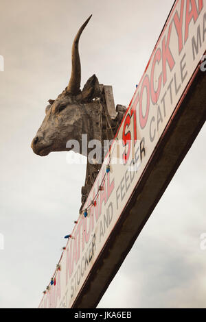 USA, Oklahoma, Oklahoma City, Oklahoma National Stockyards, entrance - Stock Photo
