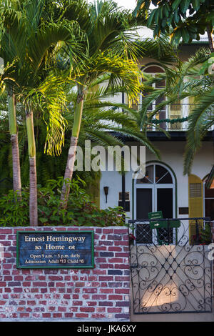 USA, Florida, Florida Keys, Key West, Hemingway House, former residence of famous American writer, exterior - Stock Photo