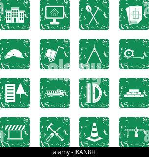 Construction icons set grunge - Stock Photo