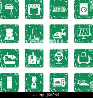Household appliances icons set grunge - Stock Photo
