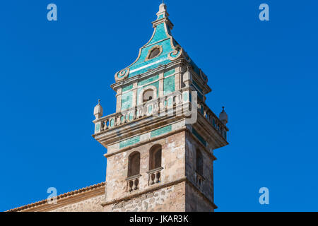 Beautiful view. Tower of the monastery in Valldemossa. Close to the Sierra de Tramuntana. - Stock Photo