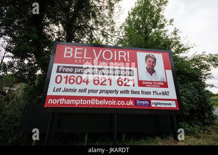 Belvoir property sign Northampton - Stock Photo