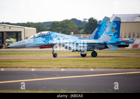 Su-27 Flanker from the Ukrainian Air Force seen at the Royal International Air Tattoo 2017 - Stock Photo