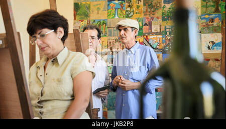 Senior people painting for hobby. Group of active seniors at art school. Leisure activity, lifestyle, recreation, - Stock Photo