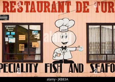 Chile, Magallanes Region, Puerto Natales, restaurant sign - Stock Photo