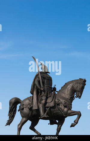 Albania, Tirana, Skanderbeg Square, statue of Skanderbeg - Stock Photo