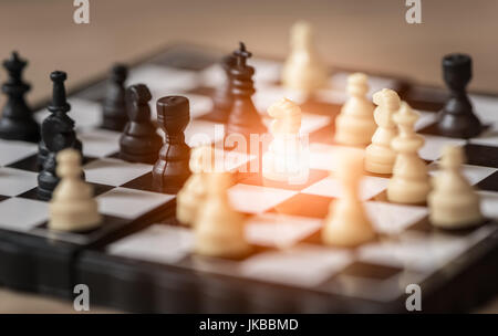 Small knight ,chess on board business concept - Stock Photo