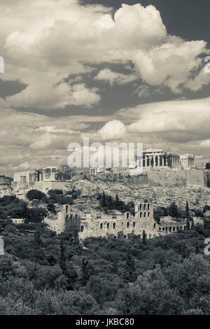 Greece, Central Greece Region, Athens, Acropolis view from Filopappos Hill - Stock Photo