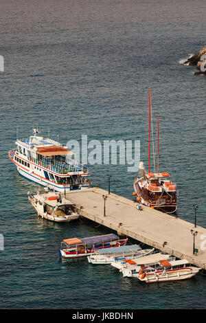 Greece, Epirus Region, Parga, elevated view of town harbor - Stock Photo