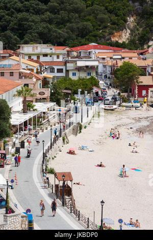 Greece, Epirus Region, Parga, elevated town beach view - Stock Photo