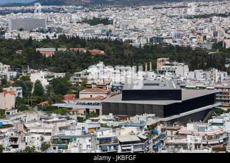 Greece, Central Greece Region, Athens, elevated view of the New Acropolis Museum from Filopappos Hill - Stock Photo