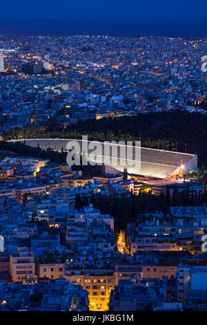 Greece, Central Greece Region, Athens, Lycabettus Hill, elevated city view with the Panathenaic Stadium, home of - Stock Photo