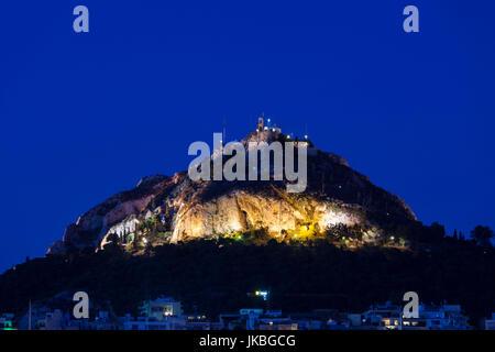 Greece, Central Greece Region, Athens, Lycabettus Hill, dusk - Stock Photo