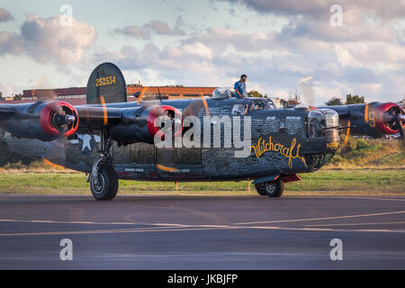 USA, Massachusetts, Beverly, Beverly Airport, WW2-era B-24 Liberator bomber - Stock Photo