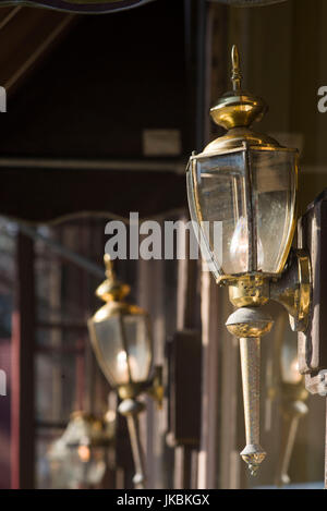 USA, Vermont, Woodstock, antique lamps - Stock Photo