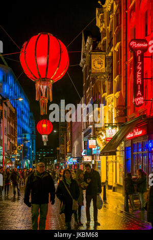 England, London, Soho, Chinatown, Wardour Street, Chinese lanterns, evening - Stock Photo