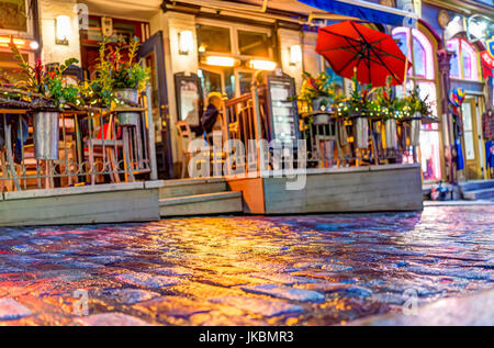 Quebec City, Canada - May 31, 2017: Colorful cobblestone street during blue hour by lower old town street Rue Sous - Stock Photo