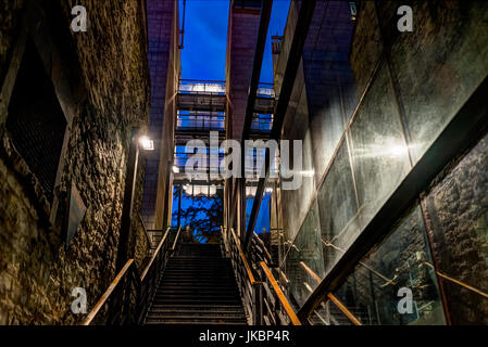 Quebec City, Canada - May 31, 2017: Lower old town street with stairs steps to go up in la place Royale on rue Notre - Stock Photo