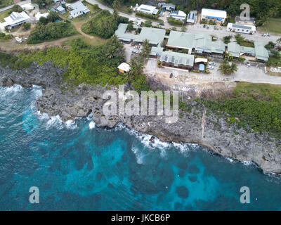 Flying Fish Cove on Christmas Island, an Australian territory in the Indian Ocean - Stock Photo