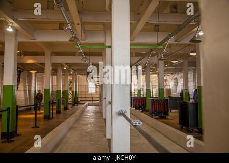 Shower area in Alcatraz penitentiary, San Francisco, California, USA - Stock Photo