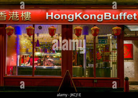 England, London, Soho, Chinatown, Wardour Street, Hong Kong Buffet restaurant, evening - Stock Photo