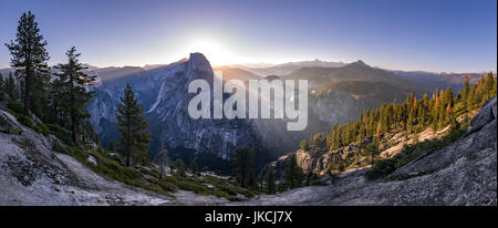 Panoramic views from Glacier Point of Half Dome and Yosemite Falls - Stock Photo
