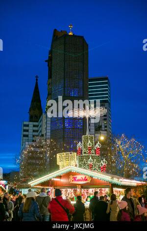 Germany, Berlin, Charlottenburg, Kurfurstendam, Europa Center, City Christmas market and Kaiser Wilhelm Memorial - Stock Photo