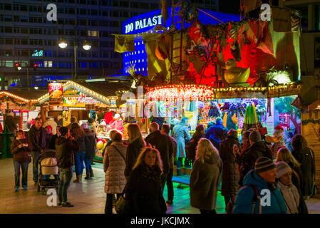 Germany, Berlin, Charlottenburg, Kurfurstendam, City Christmas market, evening - Stock Photo