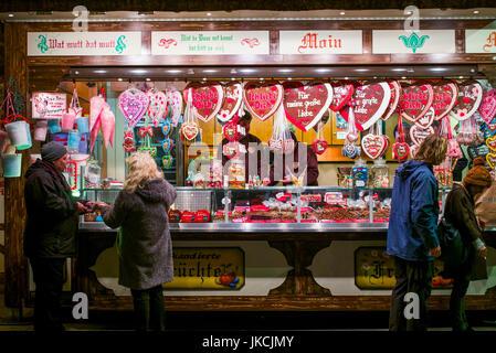 Germany, Berlin, Charlottenburg, Kurfurstendam, City Christmas market, sweet shop, evening - Stock Photo