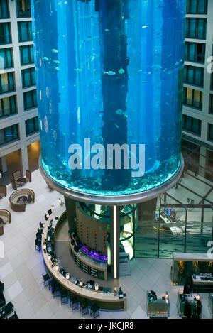 Germany, Berlin, Museum Insel, Radisson Blu Hotel interior, aquarium - Stock Photo